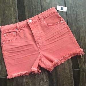 "NWT GAP High Rise 3"" Shorts Fringe Coral Sz 27R"